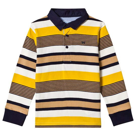Mayoral Gold Stripe Long Sleeve Polo 61