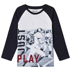 Mayoral Navy Blue Just Play Print Long Sleeve T-Shirt