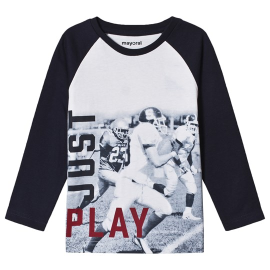 Mayoral Navy Blue Just Play Print Long Sleeve T-Shirt 46