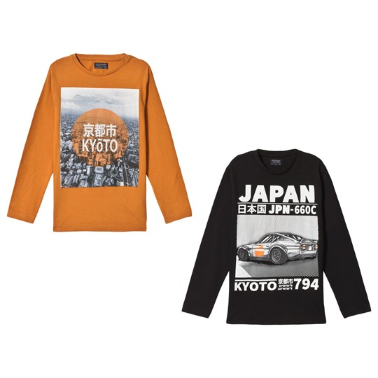 Mayoral Black and Orange Long Sleeve Tee 2-Pack 53