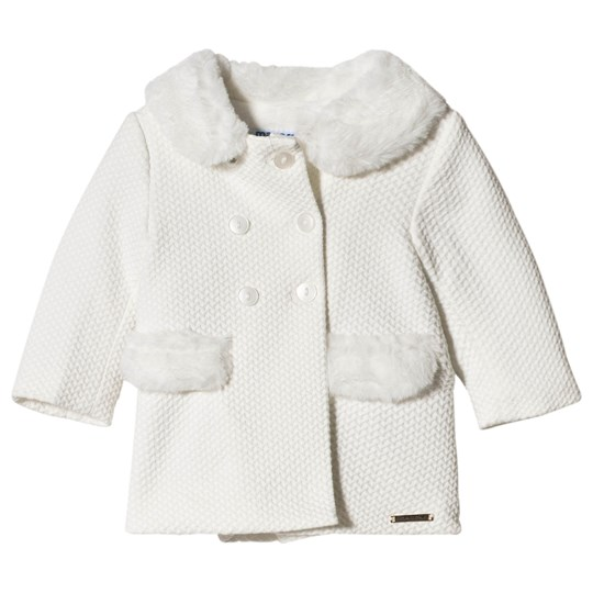 Mayoral Off White Coat with Faux Fur 55