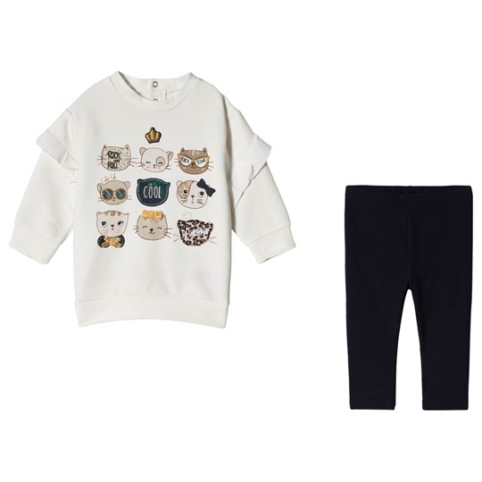 Mayoral Navy Blue Cat Print Leggings and Tee Set 37