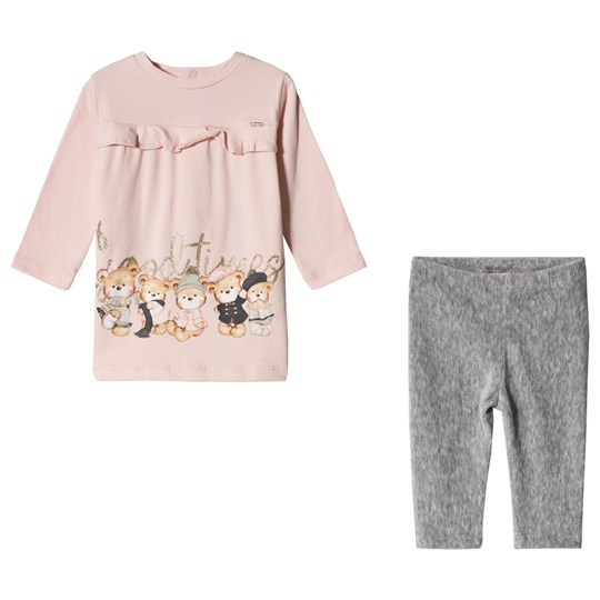 Mayoral Pink Teddy Bear Print Leggings and Dress Set 87