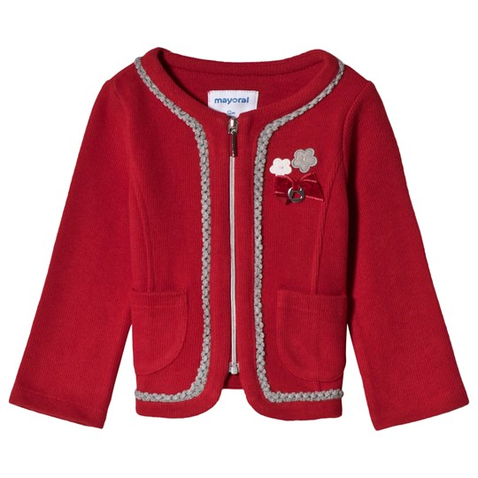 Mayoral Red Zip Through Knit Jacket with Applique Detail 95