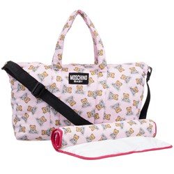 Moschino Kid-Teen Pink Bear Print All Over Print Changing Bag with Mat