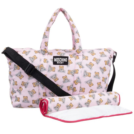 Moschino Kid-Teen Pink Bear Print All Over Print Changing Bag with Mat 83975