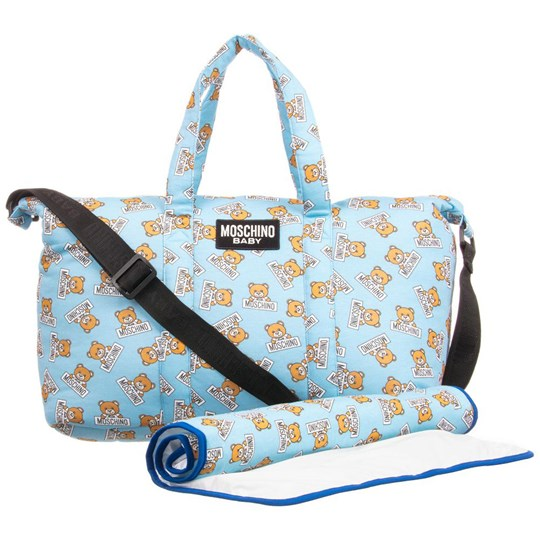a0e336f0165 Moschino Kid-Teen - Blue Bear Print Changing Bag and Mat - Babyshop.com