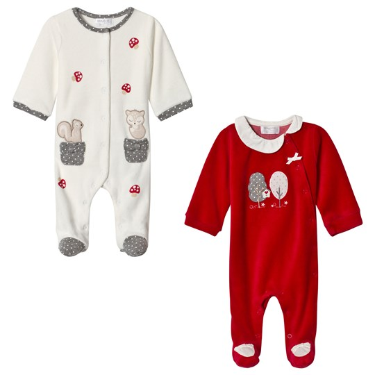Mayoral White and Red Woodland Applique Footed Baby Body 2-Pack 25