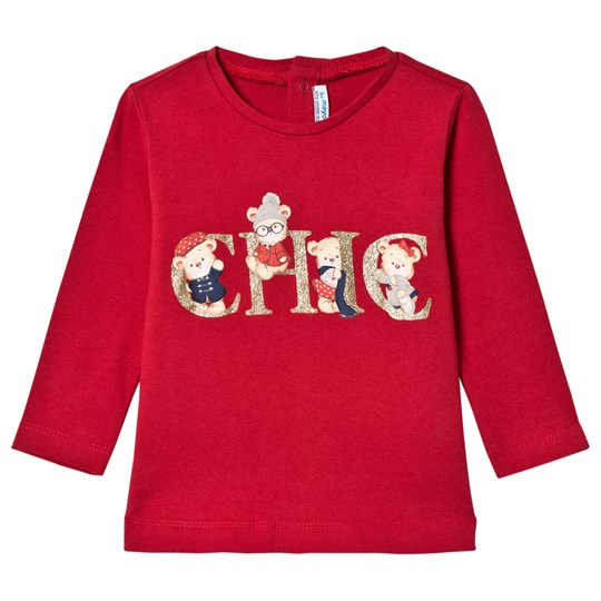 Mayoral Chic Bear Print Long Sleeve Tee Red 24
