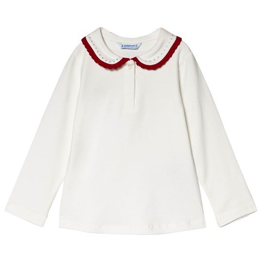 Mayoral White with Red Trim & Diamante Collar Polo Top 34