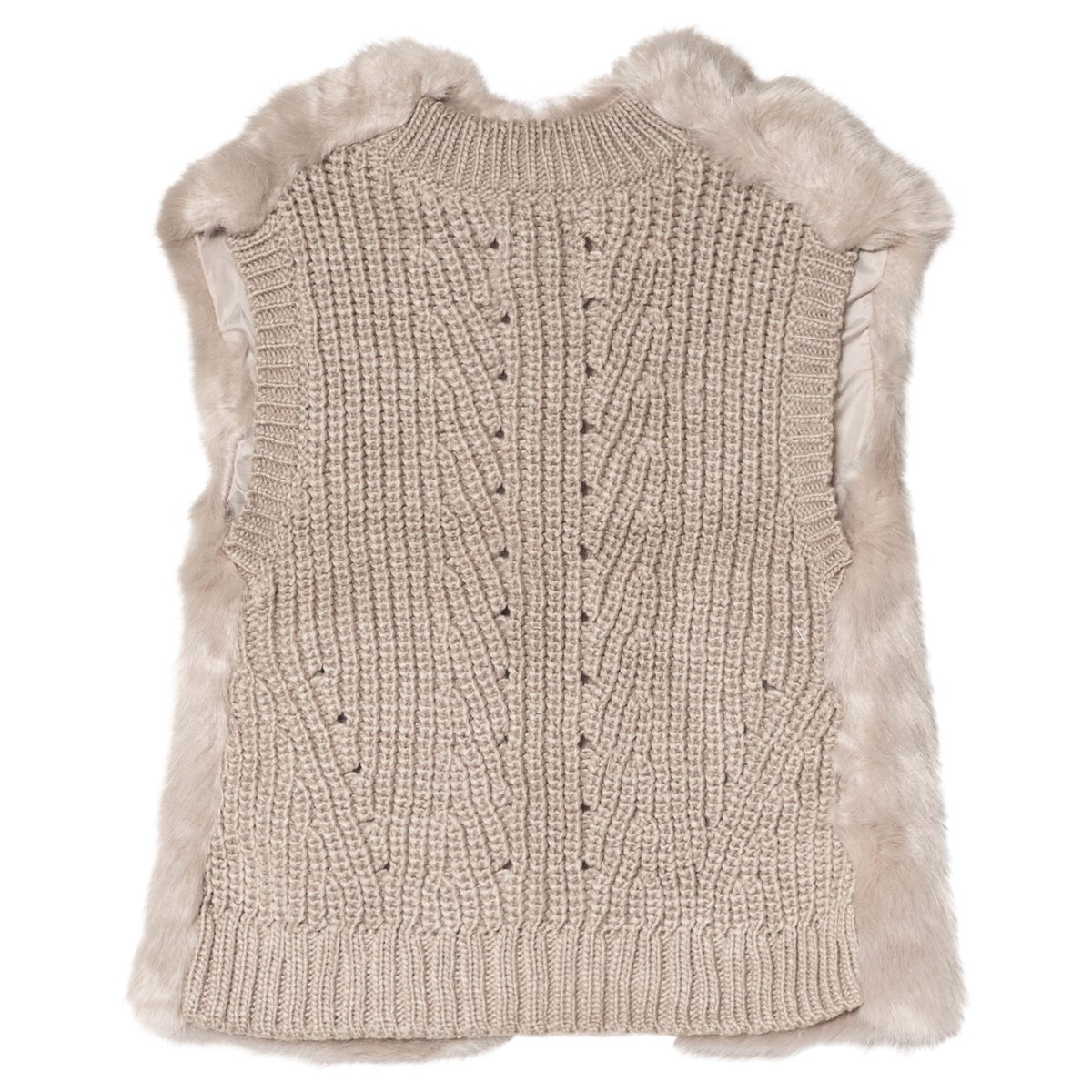 4df25c9a Mayoral - Cream Faux Fur and Knitted Back Gilet - Babyshop.com