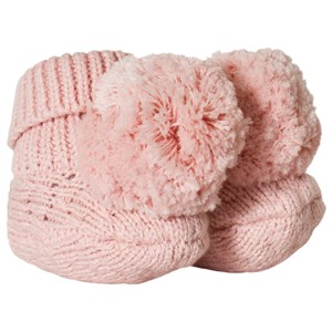 Image of Carrément Beau Pink Knit Pom Pom Booties 15 (1 month) (3056076213)