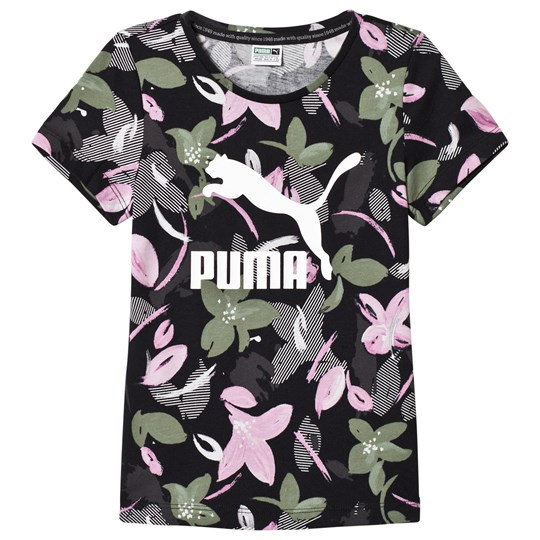 Puma Black Classic Tee with Pink All Over Print Black