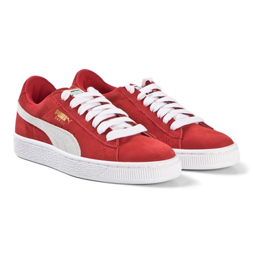 Red and White Suede Lace Trainers
