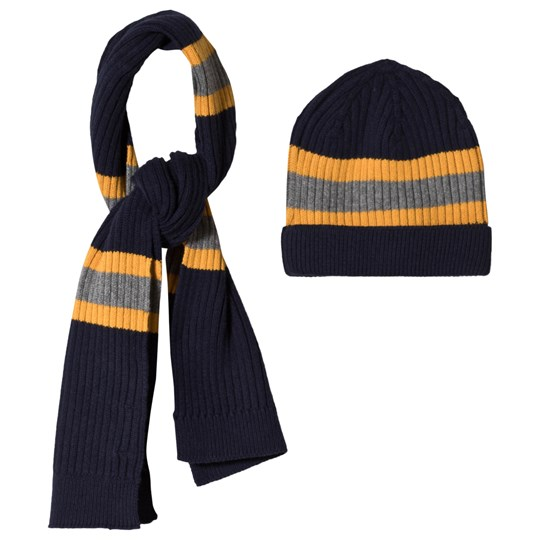 Mayoral Set of Navy Stripe Knitted Beanie and Scarf 66