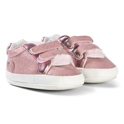 Mayoral Pink Faux Fur Glitter Velcro Trainers