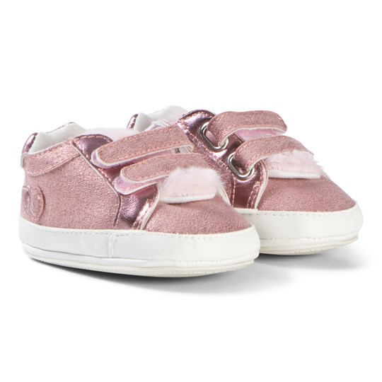 Mayoral Pink Faux Fur Glitter Velcro Trainers 76