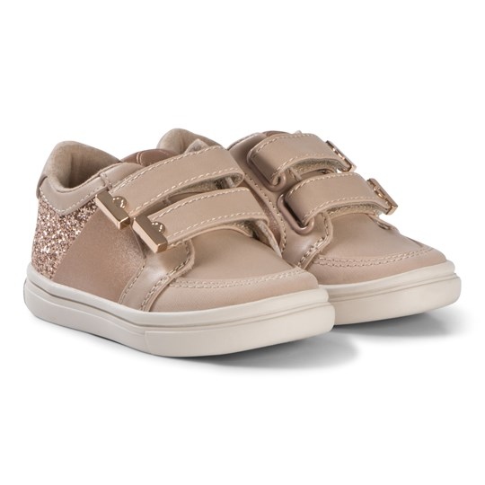 Mayoral Pink and Rose Gold Glitter Velcro Trainers 75