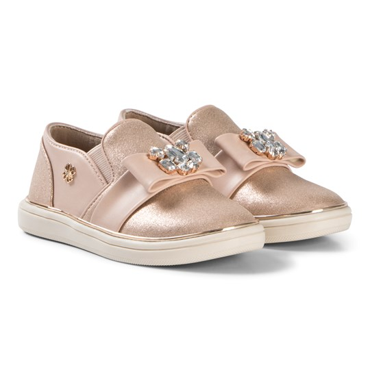 Mayoral Pink and Rose Gold Glitter Slip On with Bow Detail 33