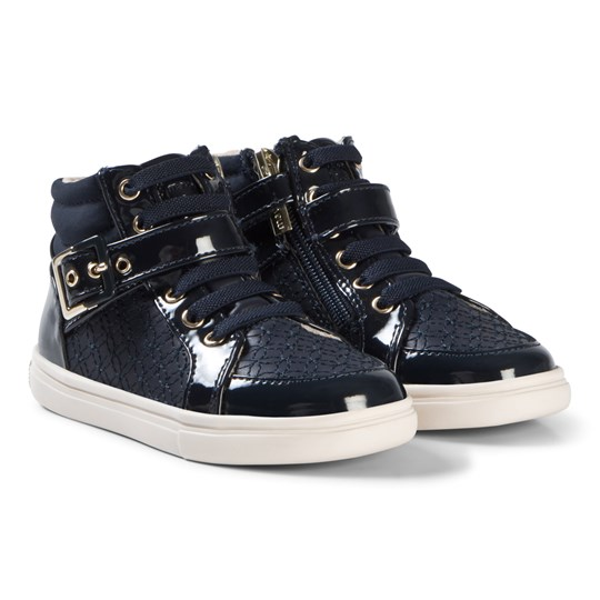 Mayoral Navy Patent Embroidered Hi Tops 15