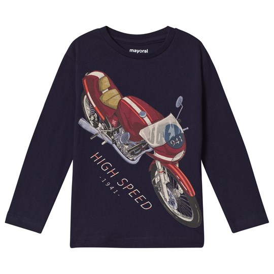 Mayoral Navy Motorbike Print Long Sleeve Tee 84