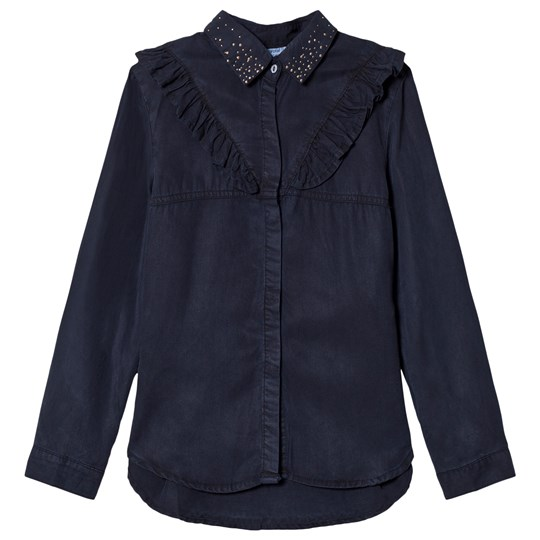 Mayoral Navy Ruffle Detail & Studded Collar Loose Shirt 21