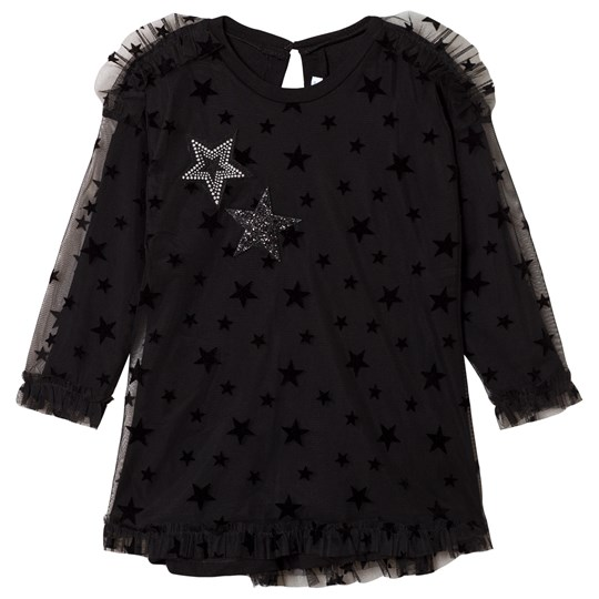Mayoral Black Star Tulle Overlay Dress with Star Applique 27