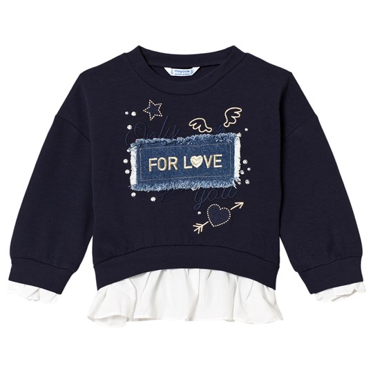 Mayoral Navy with Gold Embroidered Detail & Denim Applique Slogan Sweater 87