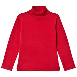 Mayoral Red Basic Knit Polo Neck Top