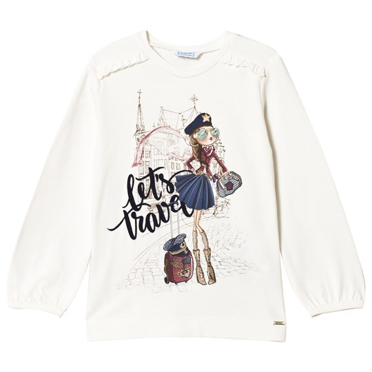 Mayoral White Let´s Travel Graphic Long Sleeve Tee 34