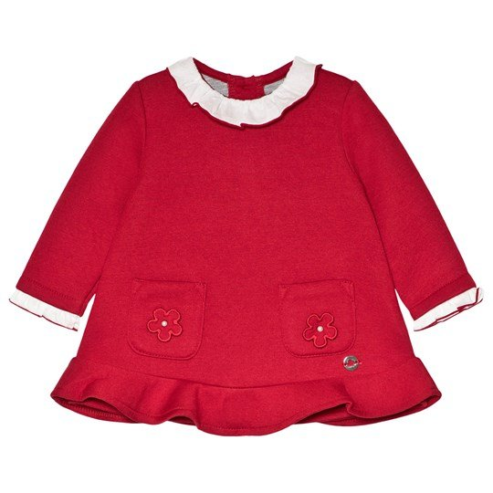 Mayoral Red with Flower Applique & Ruffle Collar Dress 19
