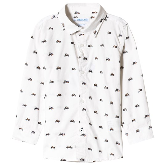Mayoral White All Over Motorbike Print Long Sleeve Shirt 75