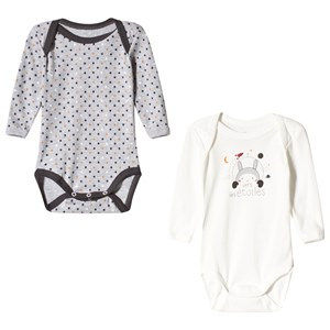 Image of Absorba 2 Pack of White and Grey Space Bunny and Star Bodies 3 months (3056071093)
