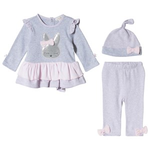 Image of Mintini Baby Grey and Pink Top with Frill Bottom, Legging and Hat 12 mdr (3056114263)