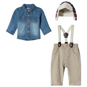 Image of Mintini Baby Beige Overalls with Denim Shirt and Check Trapper Hat Set 12 mdr (3056114395)