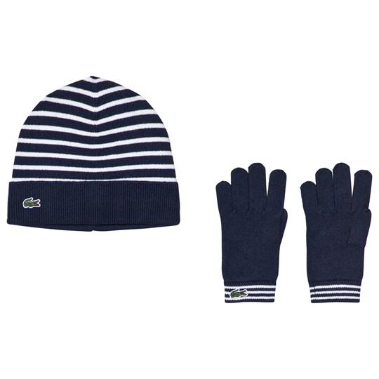 09a2ed6a9 Lacoste - Navy Striped Hat and Gloves Hat - Babyshop.com