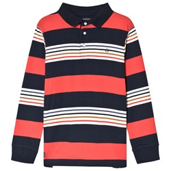 Mayoral Red and Navy Stripe Long Sleeve Polo