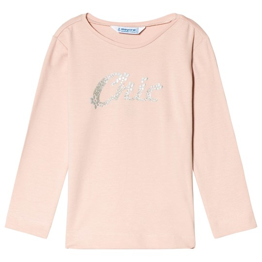 Mayoral Pink Lurex Slogan & Diamente Detail Long Sleeve Tee 79