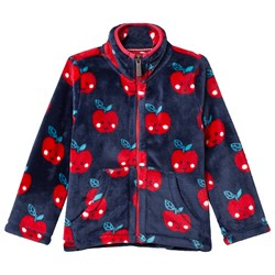 Hatley Navy with Red Smiling Apples Fuzzy Fleece Jacket