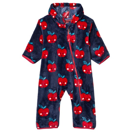 Hatley Navy with Red Smiling Apples Fuzzy Fleece Onesie Marinblå
