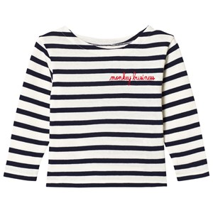 Image of Maison Labiche White and Navy Striped Monkey Business Long Sleeve Tee 4 years (3056084091)