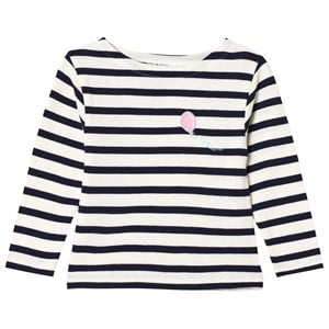 Image of Maison Labiche White and Navy Striped Flying Balloon Long Sleeve Tee 6 years (3056084105)