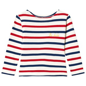 Image of Maison Labiche Red, Blue and White Striped Dude Long Sleeve Tee 4 years (3056084127)