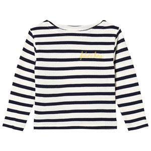 Image of Maison Labiche White and Navy Striped Future Hero Embroidered Long Sleeve Tee 4 years (3056084187)