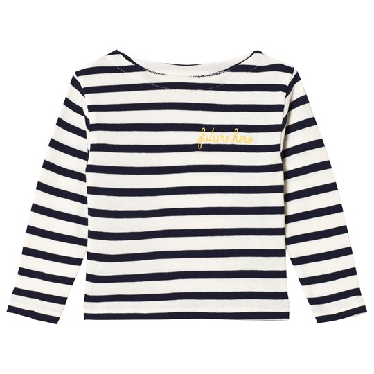 Maison Labiche White and Navy Striped Future Hero Embroidered Long Sleeve Tee Navy