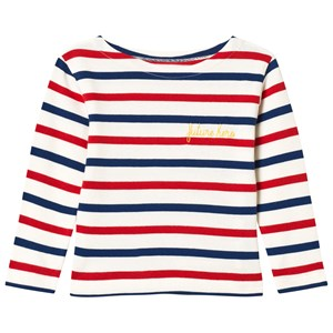 Image of Maison Labiche White and Red Striped Future Hero Embroidered Long Sleeve Tee 2 years (3056084197)