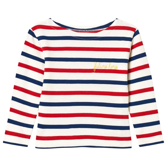 Maison Labiche White and Red Striped Future Hero Embroidered Long Sleeve Tee Red