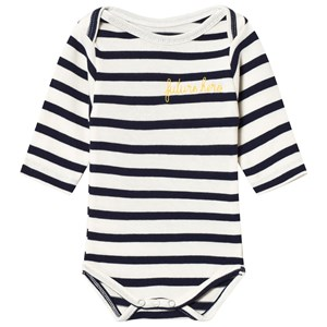 Image of Maison Labiche White and Navy Striped Future Hero Embroidered Long Sleeve Baby Body 12-18 months (3056084215)