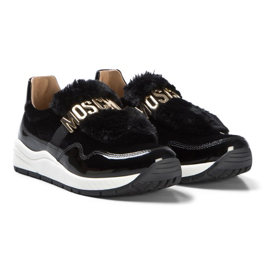 Moschino Kid-Teen Black Patent and Faux Fur Logo Trainers 9111