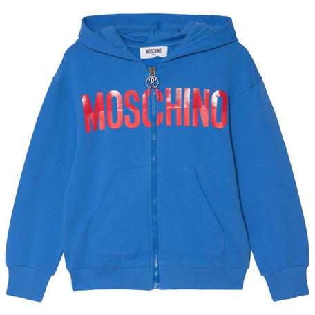 Moschino Kid-Teen. Blue Branded Hoodie 48bf687237